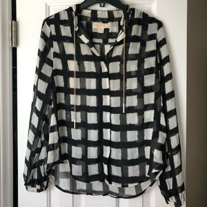 Michael Kors black and white patterned shirt